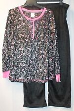NEW WOMENS PLUS SIZE 3X BLACK & PINK 2PC MICROFLEECE HENLEY PAJAMAS PAJAMA SET