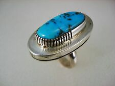 GORGEOUS NAVAJO MODERNIST STERLING SILVER & MORENCI TURQUOISE RING sz 6 signed