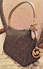 NWT Michael Kors Jet Set Item Small Top Zip Shoulder Bag Signature PVC Brown