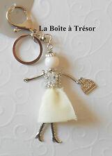 Bijoux de Sac ou Porte-Clés La Poupée Blanc + Strass Neuf - Accessoires de Mode