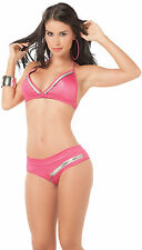 2065 Gogo Zipper Pink Fuschia Bikini Bra Boy-shorts Rave Exotic Dance Club S M L