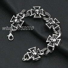Mens Black/Silver Iron Cross Skull Stainless Steel Bracelet Chain Cuff Bangle