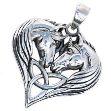 .925 Solid Sterling Silver Unicorn Unicorns Heart Triquetra Pendant P071