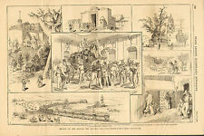Mexico, Street Scenes, In The Capitol City, Vintage, 1883 Antique Art, Print.