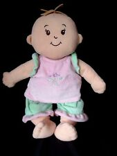"Manhatten Toy Co. Baby Doll Plush Pink Green flowers 12"" Toy Stuffed Animal"