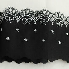 Floral Flower Broderie Anglaise Lace Trim Butterfly Bow - Black Raspberry Pink