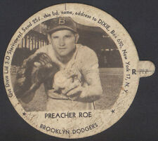 1954 DIXIE LID BASEBALL ~ PREACHER ROE ~ HIGHLANDER WITH TAB ~ BROOKLYN DODGERS