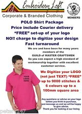 "10 PERSONALISED EMBROIDERED WORKWEAR POLO SHIRTS ""FREE"" DIGITIZING OF YOUR LOGO"