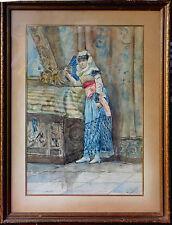040905 Donna con ventaglio. Acquarello f.to L. Belloni Italia, fine Ottocento