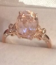 2.34CT  Natural Morganite & Natural  Diamonds in 14K  Solid Rose Gold  Ring