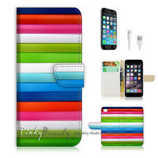iPhone 7 PLUS (5.5') Flip Wallet Case Cover P0241 Stripe