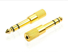 1/8 3.5mm Female to 6.5mm 1/4 Male Headphone Stereo Audio Jack Adapter Plug Gold