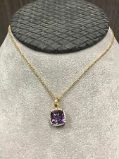 """Lafonn Gold Plated  Amethyst Pendant With Simulated Diamond Halo on a 18"""" Chain"""