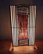 Unusual Jungle Flame Bali Table Lamp 50cm Bamboo & Bark Ethnic Lamp