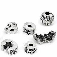 Six Clip Lock Beads + 6 Rubber Stopper O-rings For Snake Chain Charm Bracelet