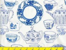 Blue White China Plates Cups Teapots on White Quilting Fabric by Yard  #652