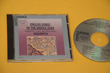 CD SEQUENTIA ENGLISH SONGS OF MIDDLE AGES ORIG EX CON LIBRETTO (NO LP )