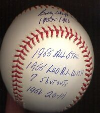Bill Billy Hoeft  Autographed  OFFICIAL ML STAT baseball  Detroit Tigers 4 INSCR