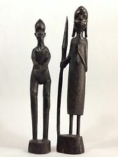 Kenya Genuine Besmo Hand Carved Ebony Man Woman African Figurines Lot Of 2