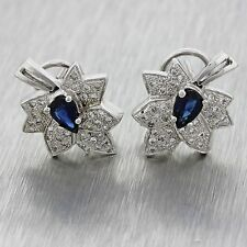 $3000 Vintage 14k Solid White Gold .45ctw Sapphire .80ctw Diamond Leaf Earrings