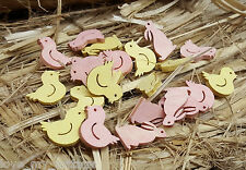 Wooden Easter Bunny Chick Party Table Confetti Scatter Decor Pink Yellow 45 pcs
