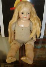 BEAUTIFUL OLD ANTIQUE COMPOSITION BLONDE HAIR GIRL DOLL 1920'S 30S 15 IN TALL NR