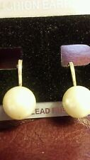 NEW 10mm Pearl Off White Cream Pearl Clip on Earrings Ships Today  STUNNING