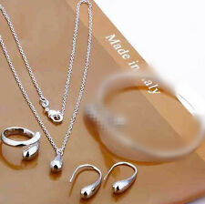 925 Silver Plated Water Drop Earring Necklace Ring Set Women Jewelry *UK Seller*