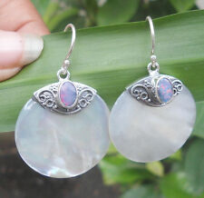 New April-925 Sterling Silver Mop Shell Earring Round With Opal