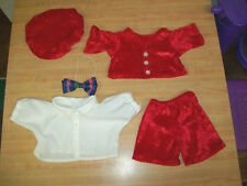 "16"" CPK Cabbage Patch Kids Boys Red Panne Velvet outfit jacket shorts hat shirt"