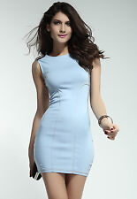 Stylish Skintight Denim Light Blue Party Dress Medium
