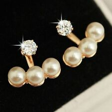 Gold plated double sided pearl stud eardrop earring