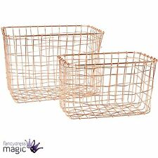 *Sass & Belle Set Of 2 Copper Wire Mesh Rectangular Baskets Boxes Home Storage*