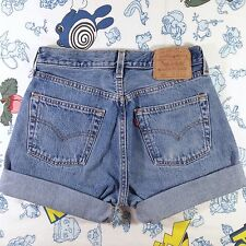 "Vintage Levis Light Blue High Waisted Cuffed Denim Cut Off Jean Shorts 29"" Waist"
