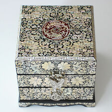 Mother of Pearl Wood Mens Jewelry Storage Keepsake Decorative Art Deco Box Chest