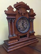 Rare Ingraham Cabinet No. 7 Oak Shelf Mantle Table Parlor Clock NICE