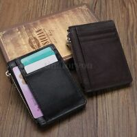 Men Leather Slim Money Clip Zip Wallet ID Credit Card Holder Coin Purse Bag