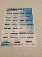 NRL CRONULLA SHARKS RUGBY FULL TEAM SIGNED PRINT POSTER COLLECTORS BARGAIN