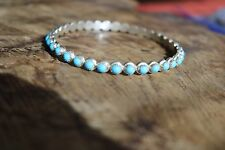 Larger Size Turquoise Bangle Stamped by the Artist with an M - Sterling Silver