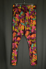 Zumba Wear Lovely Pants Purple Orange Large Abstract Elastic Waist Athletic