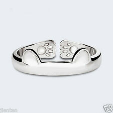 Women Silver DIY Index Finger Carved Kawaii Mini Cat Footprint Open Ring Jewelry