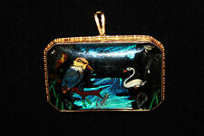 Art Deco butterfly wing 9 ct gold kingfisher swan scene brooch pendent vintage