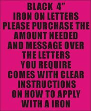 "10 4"" BLACK IRON ON LETTERS & NUMBERS TRANSFER PRINTING"