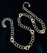 Signed Guess Gold Link Necklace Gold Tone With Clear Baguettes NWOT r12D