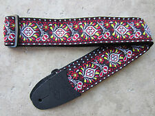 LM Guitar Strap JIMI HENDRIX Peacock Red Black Woven Tapestry Hippie Retro