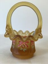 Fenton Art Glass Hand Painted Gold Satin Mini Basket