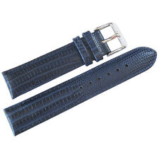 20mm deBeer Mens Navy Blue Teju Lizard-Grain Leather Watch Band Strap