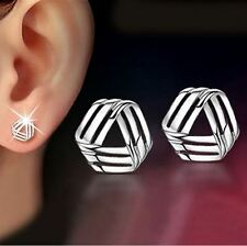 Women's/Girl's: 18ct White Gold Plated 3 Row 'Impossible Triangle' Stud Earrings