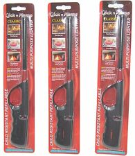 """3-Pack Click n Flame Multi-purpose BBQ Lighter - 10"""" Long, Black/Red Color"""