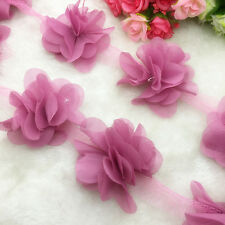 New Hot 1 Yard Flower Chiffon Wedding Dress Bridal Fabric Lace Trim Pale Mauve